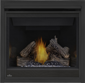 Ascent B36 with PHAZER log set and MIRRO-FLAME porcelain reflective radiant panels