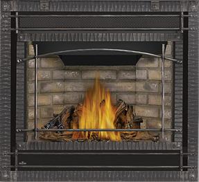 PHAZER® Log Set, Newport ™ Deluxe Decorative Brick Panels, Scalloped Wrought Iron Front