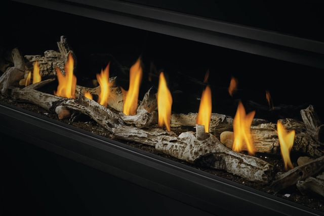 Beach Fire Logs with Shore Fire Rocks on Glass Embers for Vector Linear