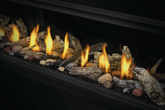 Beach Fire Logs, Shore FireRocks, and Glass Embers in Vector Linear