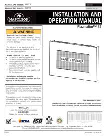 Napoleon Plazmafire WHD31 Manual