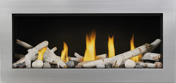 Vector LV38ST Prod Straight Birch Logs Shore Fire Front Stainless