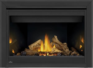 PHAZER® Log Set, MIRRO-FLAME™ Porcelain Reflective Radiant Panels, Bevelled Trim