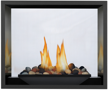 River Rock Media Burner, MIRRO-FLAME™ Porcelain Reflective Radiant Panels