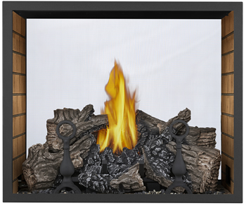 Log Set Burner, Sandstone Brick Panels