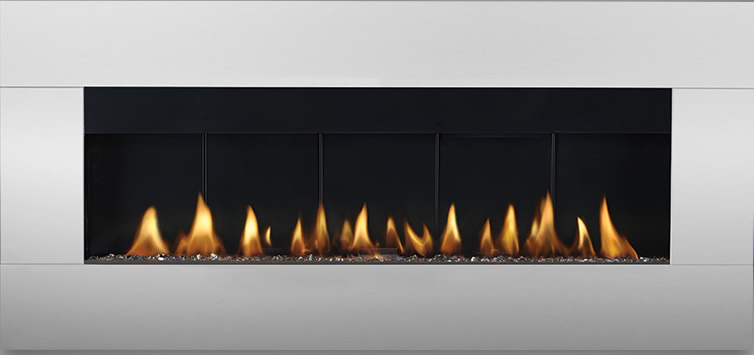 Surround in stainless steel shown with natural gas burner